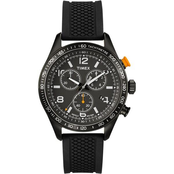 Timex Men's T2P0439J Ameritus Chronograph Black Dial, Black Silicone Strap Watch