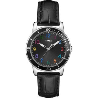 Timex Women's T2P050 Ameritus Sport Multicolored Numerals Leather Strap Watch