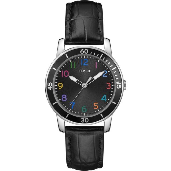 Timex Women's T2P050 Fashion Sport Multicolored Numerals Leather Strap Watch