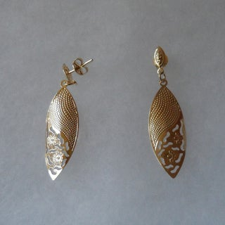 Anne Marie Lindsay Triple Layer Gold Stamped Flower Dangle Earrings