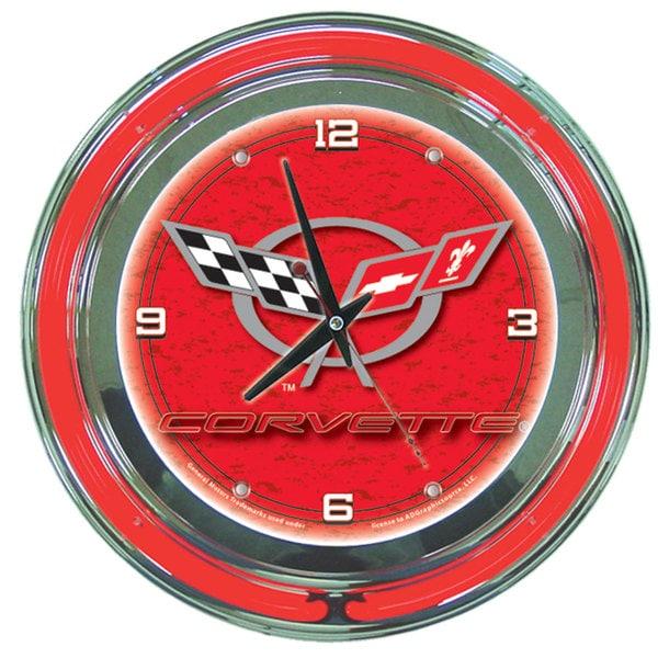 Corvette C5 Red Neon Clock