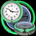 Green/ White Double Ring Neon Clock