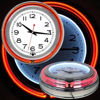 White/ Orange Double Ring Neon Clock