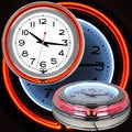White/ Orange Double Ring Neon Clock