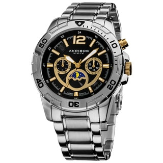Akribos XXIV Men's Swiss Quartz Diver's Multifunction Stainless Steel Bracelet Watch