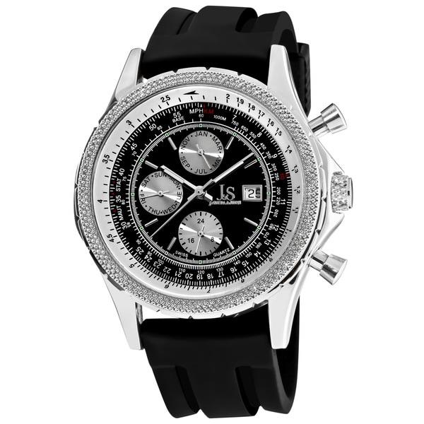 Joshua & Sons Men's Multifunction Black Rubber-Strap Watch 10629541