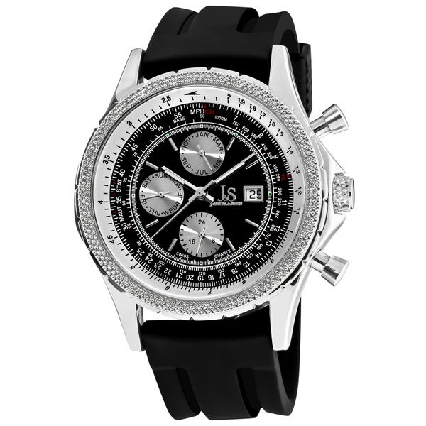 Joshua & Sons Men's Multifunction Black Rubber-Strap Watch