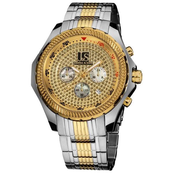 Joshua & Sons Men's Large Dial Quartz Chronograph Bracelet Watch