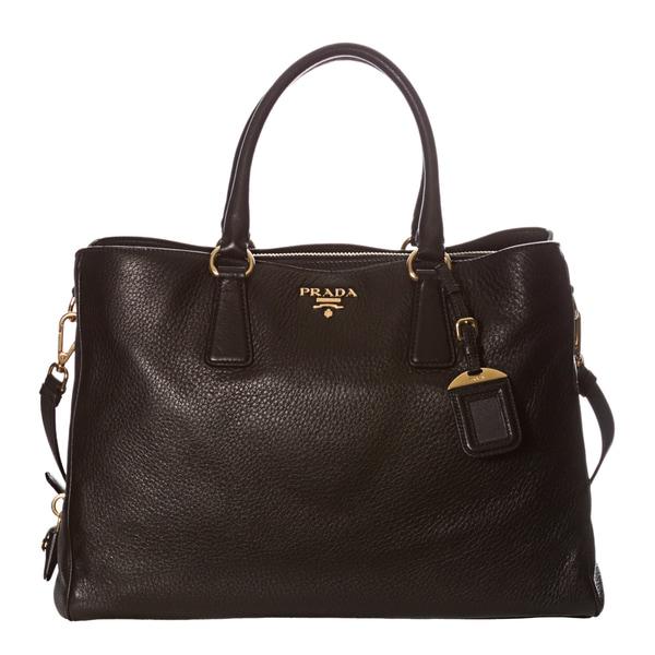 Prada 'Cervo' Black Pebbled Leather Tote Bag