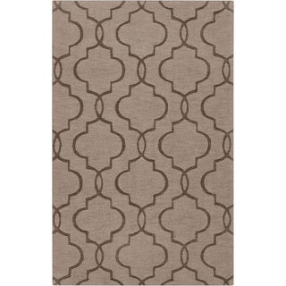 Hand-crafted Triplett Brown Geometric Lattice Wool Rug (2' x 3')
