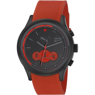Puma Men's 'Motor' Red Rubber Strap Quartz Watch