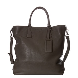 Prada Pebbled Leather Travel Tote Bag