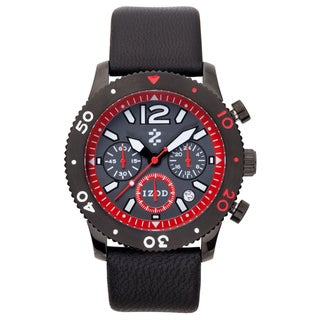 Izod Men's 'IZS6/2.BLACK.RED' Black Leather Strap Quartz Watch