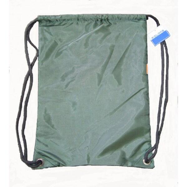 Green Polyester Drawstring Backpacks (Case of 100)