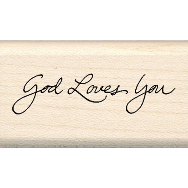 "Inkadinkado God Loves You Mounted Rubber Stamp (1"" x 1.75"")"