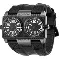 Police Men's 'Dominator' Black/ Black Calfskin Strap Quartz Watch