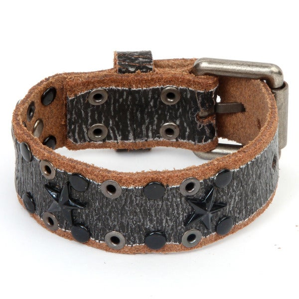 Black and Brown Leather Star and Stud Bracelet