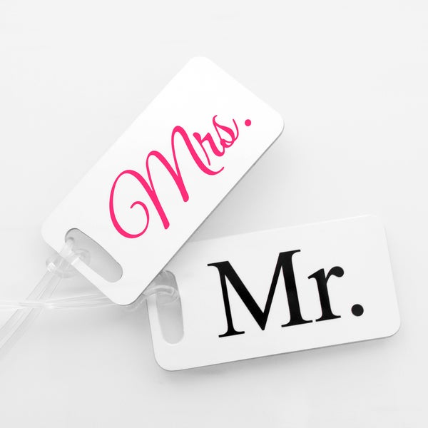 Mr. & Mrs. Luggage Tags (Set of 4 each)