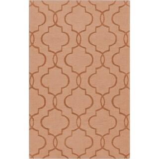 Hand-crafted Sullivan Orange Geometric Lattice Wool Rug (8' x 11')