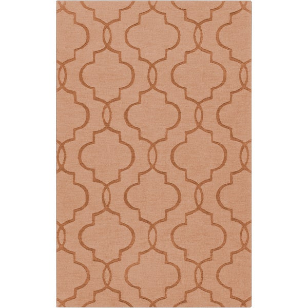 Hand-crafted Sullivan Orange Geometric Lattice Wool Rug (8' x 11')