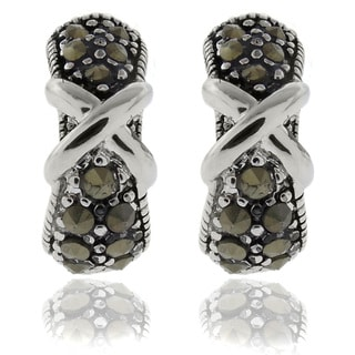 Dolce Giavonna Silver Overlay Marcasite 'X' Hoop Earrings