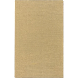 Hand-crafted Solid Pale Gold Casual Waco Solid Wool Rug (2' x 3')