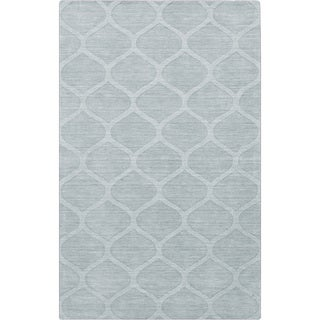 Hand-crafted Blue/Grey Lattice Wheaton Wool Rug (3'3 x 5'3)