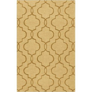 Hand-crafted Tindall Yellow Geometric Lattice Wool Rug (8' x 11')