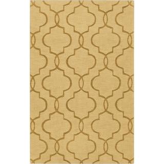 Hand-crafted Tindall Yellow Geometric Lattice Wool Rug (8' x 11')
