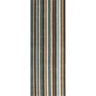 Hand-crafted Casual Green/Brown Stripe Wentzville Wool Rug (2'6 x 8')