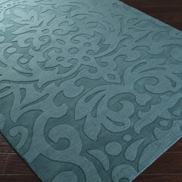 Hand-crafted Westboro Solid Teal Green Damask Wool Rug (5' x 8') - 15117717 - Overstock.com ...
