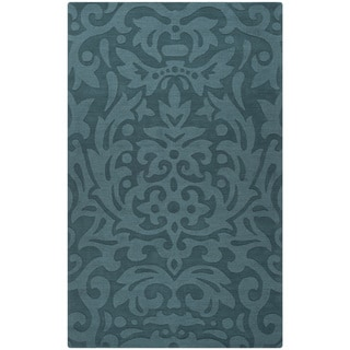 Hand-crafted Westboro Solid Teal Green Damask Wool Rug (5' x 8')