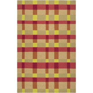 Hand-hooked Summer Orange Indoor/Outdoor Bright Plaid Rug (8' x 10')