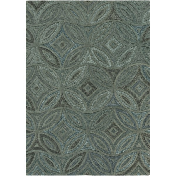 Hand-tufted Green English Ivy Floral Wool Rug (5' x 8')