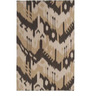 Hand-woven Ikat Chiclayo Brown Wool Flatweave Rug (3'6 x 5'6)