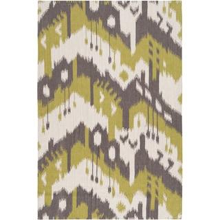Hand-woven Ikat Cusco Green Wool Flatweave Rug (5' x 8')
