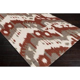 Hand-woven Ikat Pucallpa Red Wool Flatweave Rug (5' x 8')