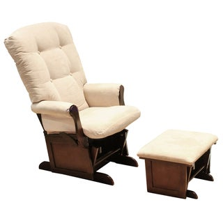 DaVinci Sleigh Multi-position Lock Glider and Ottoman Set in Beige/Espresso