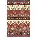 Hand-woven Red/Tan Southwestern Aztec Tacna Wool Flatweave Rug (9' x 13')