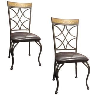 Sierra Vinyl Dark Brown Metal/Wood Side Chairs (Set of 2)