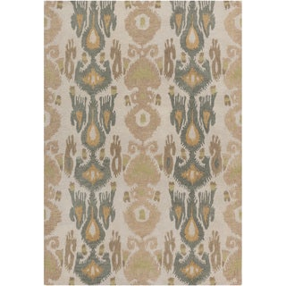 Hand-tufted Ivory Ikat Parchment Wool Rug (8' x 11')