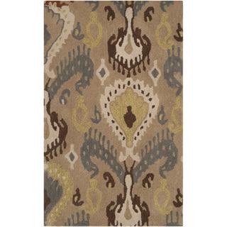 Hand-tufted Golden Ikat Desert Sand Wool Rug (8' x 11')