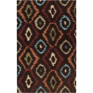 Hand-tufted Ikat Diamond Nomad Brown Rug (8' x 11')