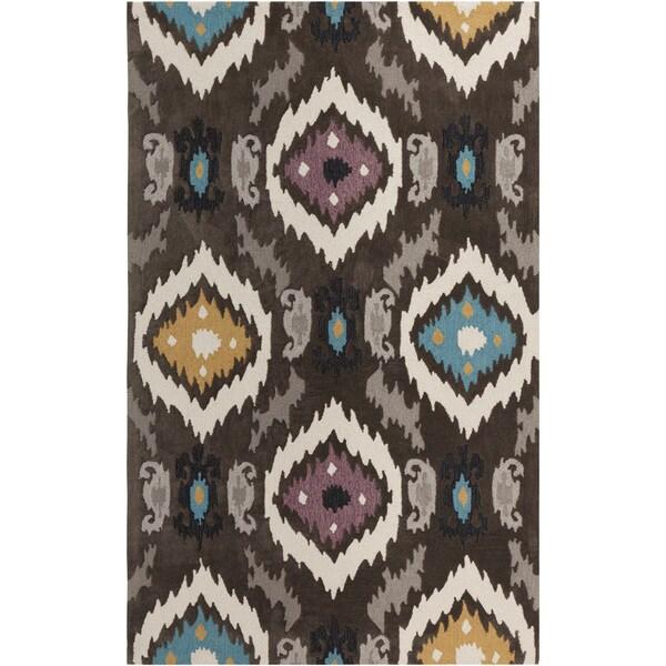 Hand-tufted Ikat Jewels Dark Brown Rug (2' x 3')
