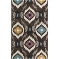 Hand-tufted Ikat Jewels Dark Brown Rug (5' x 8')