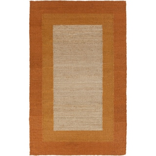 Hand-woven Sunset Orange Border Natural Fiber Jute Rug (8' x 11')
