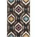 Hand-tufted Ikat Jewels Dark Brown Rug (3'6 x 5'6)