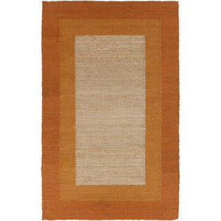 Hand-woven Orange Border Sunset Orange Natural Fiber Jute Rug (5' x 8')