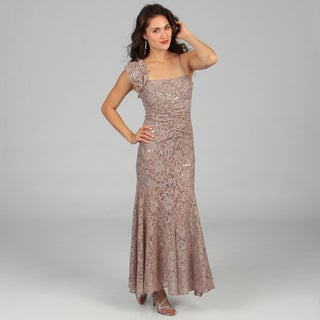 Jump Apparel Juniors Taupe One-shoulder Lace and Sequin Dress