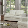 Nova White Bonded Leather Loveseat